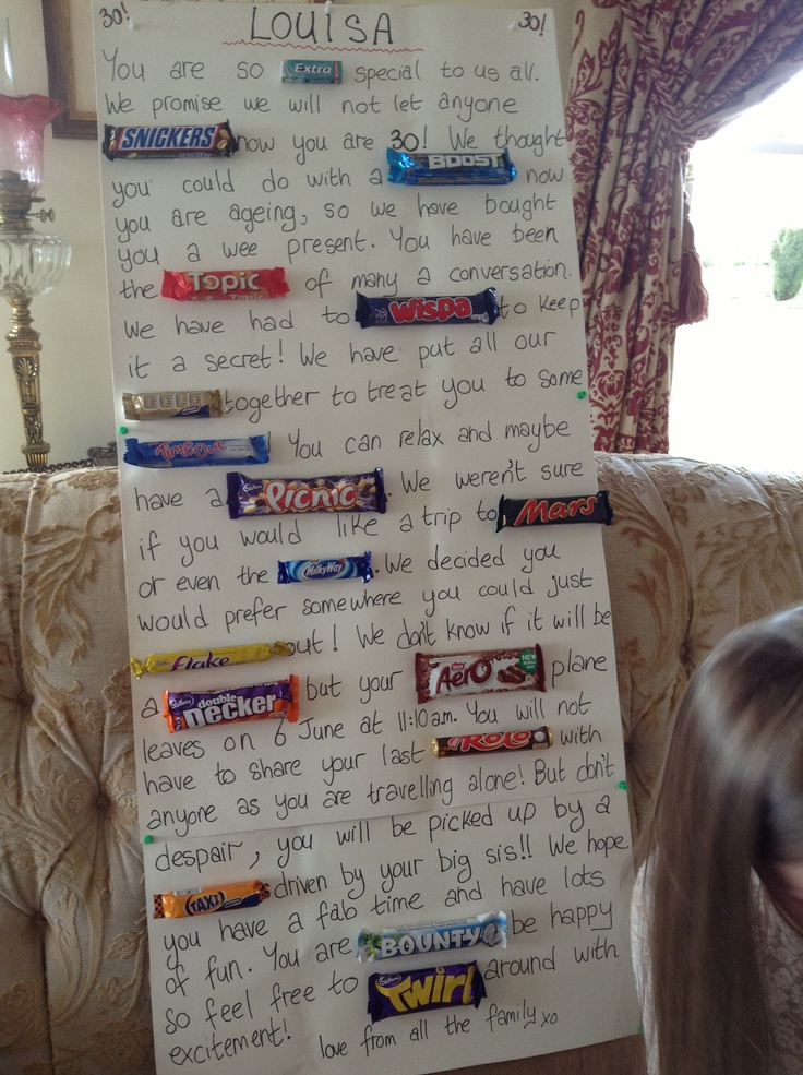 Chocolate Bar Poster For My Sister In Laws 30th Birthday