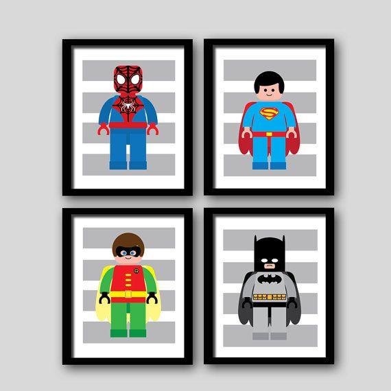 Superhero wall art prints, super heroes, batman spiderman