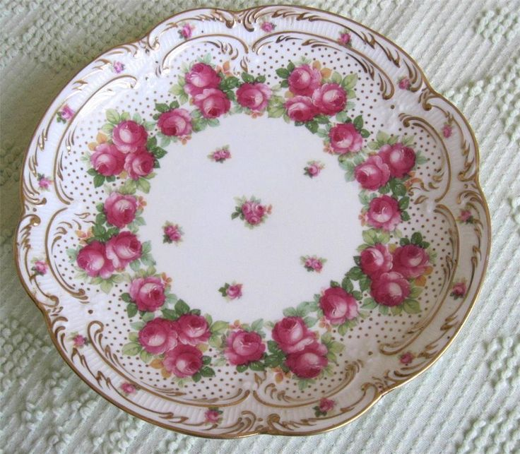 Royal Doulton Red Pink Rose Hand Painted Gold Trim 925 Plate Made in England  See more best