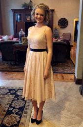A school official said this dress worn at a Utah school dance by Gabi Finlayson violated dress code rules about shoulder strap width.