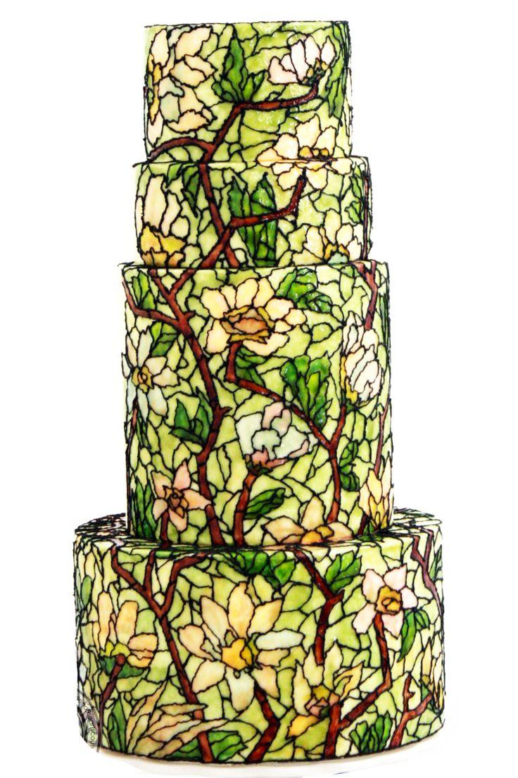 Stain glass wedding cake Its buttercream art  Queen of