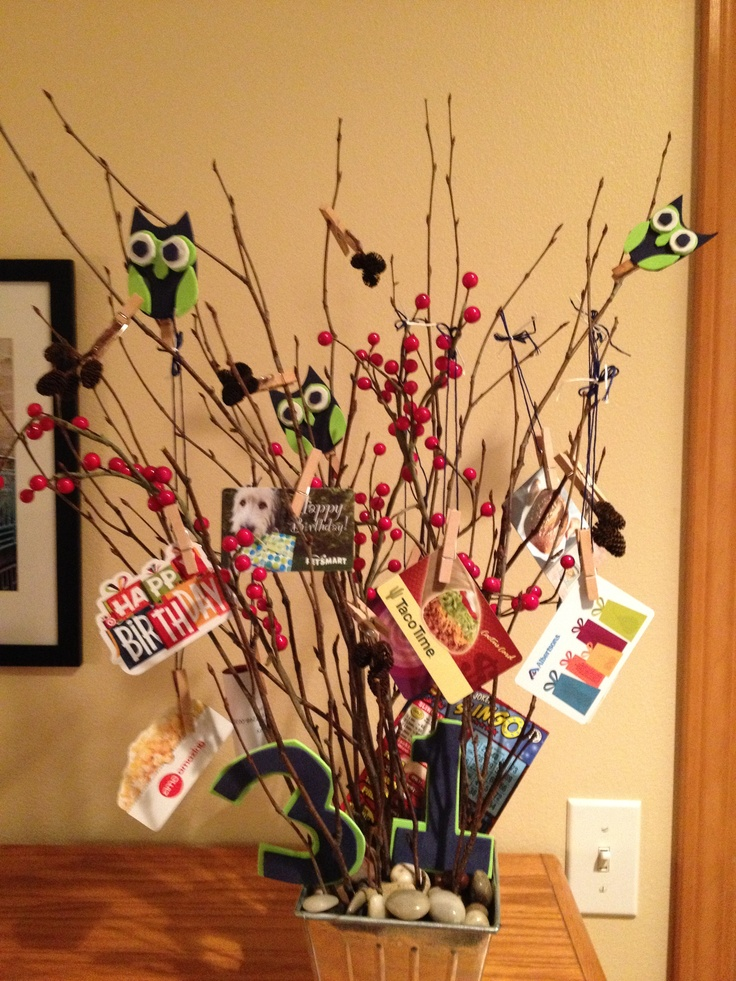 Gift card tree for a birthday gifts pinterest trees