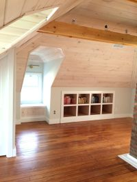 Attic: tongue and groove pine ceiling, pickled white w ...