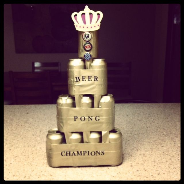 DIY Beer Pong Tournament Trophy! Made With Cans Duct Tape