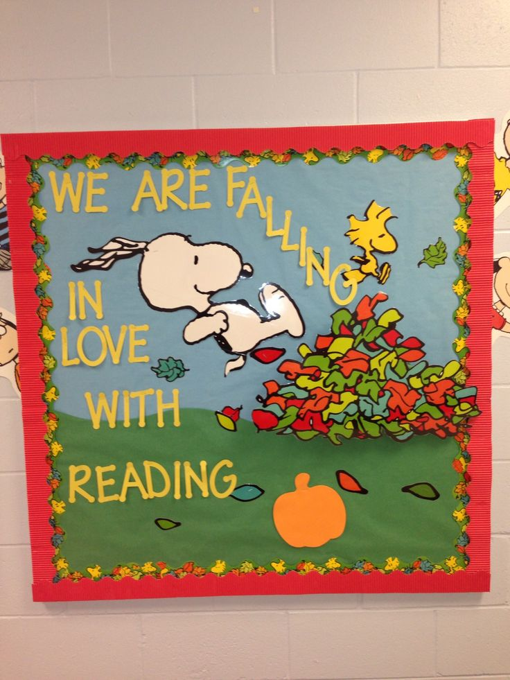 Bulletin board. 3D leaves, Snoopy