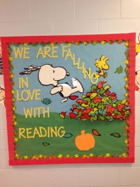 Bulletin board. 3D leaves, Snoopy | Library Display Ideas ...