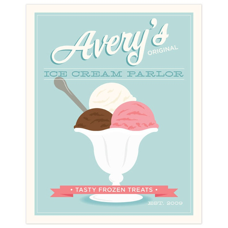 Ice Cream Parlor Personalized Childrens Or Nursery Wall