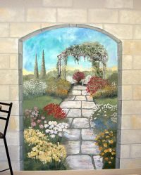 Garden mural on a #cement block wall Colorful flower ...