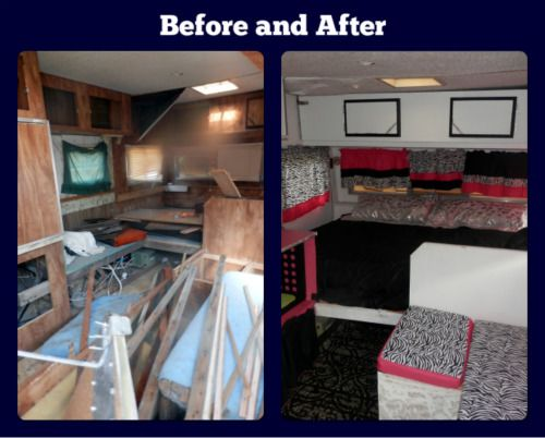 We renovated an old 1974 Caveman travel trailer for our
