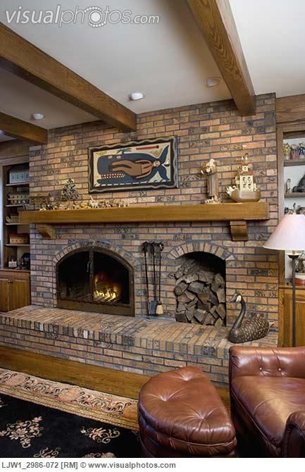 fireplace with wood box  FIREPLACES raised hearth brick fireplace with built in wood box log