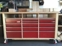 Workbench with recycled Craftsman workbench drawers ...