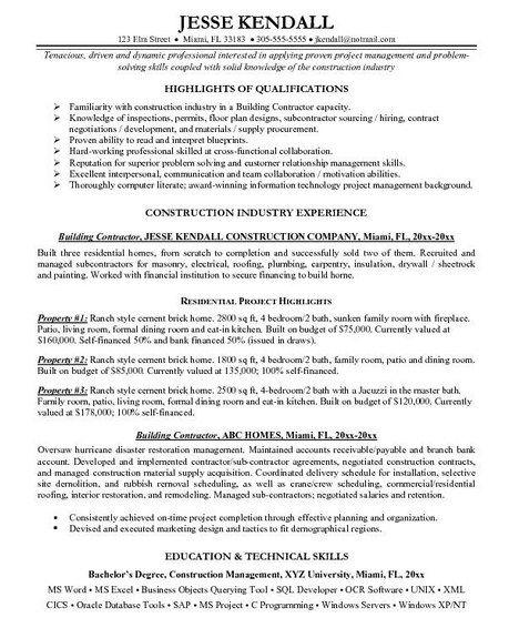 self employed construction resume sample