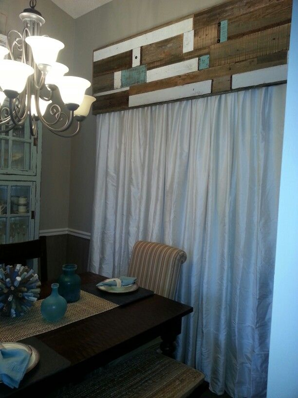 Reclaimed wood valance  Window treatments  Pinterest