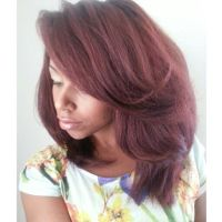 Straight hair with Ion Demi-Permanent Light Burgundy ...