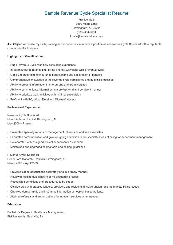 retirement specialist resume sample