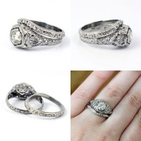 18K Art Deco 1920s Filigree European Cut Antique Diamond