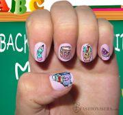 cute school nail art