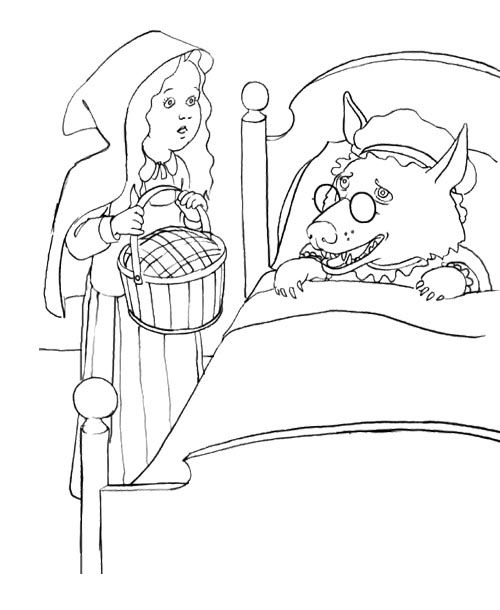 Little Red Riding Hood Sleeping Dog Coloring Page For Kids