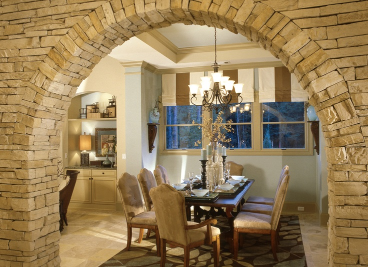 Beautiful Stone Arch Leading Into Dining Room Hello