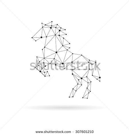 Geometric horse design silhouette. Black line vector