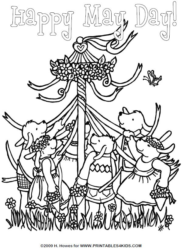 May Day Maypole Celebration Coloring Page : Printables for