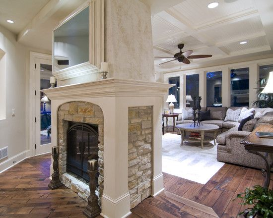 Family Room Design  fireplace in the middle lots of