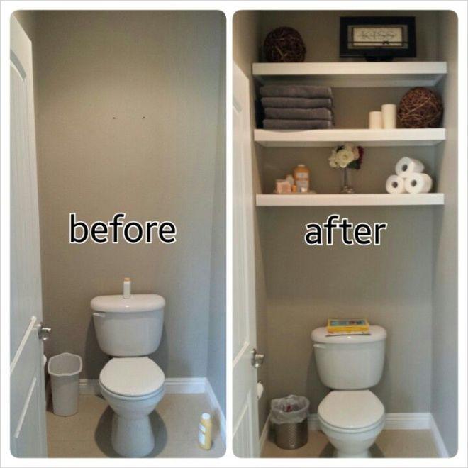 Diy water closet bathroom floating shelves and
