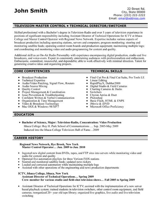 examples of audio video resumes