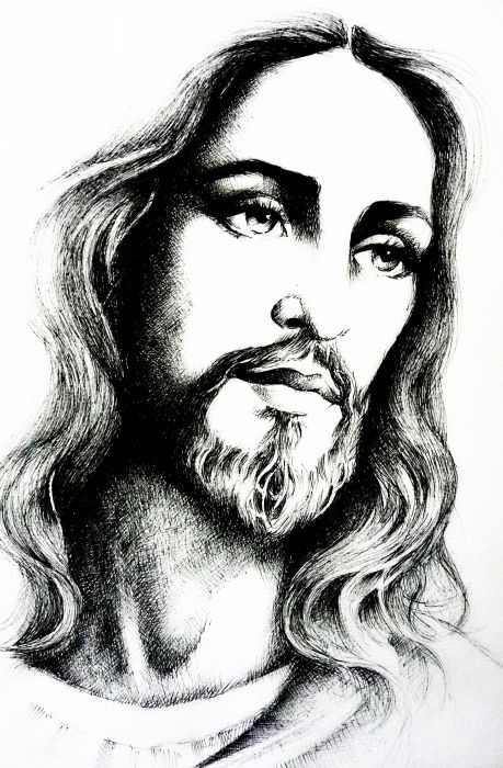 Jesus Christ sketch by Marie Bouldingue Christian art