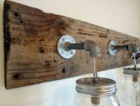 Rustic Bathroom Vanity Barn Wood Mason Jar Hanging Light ...