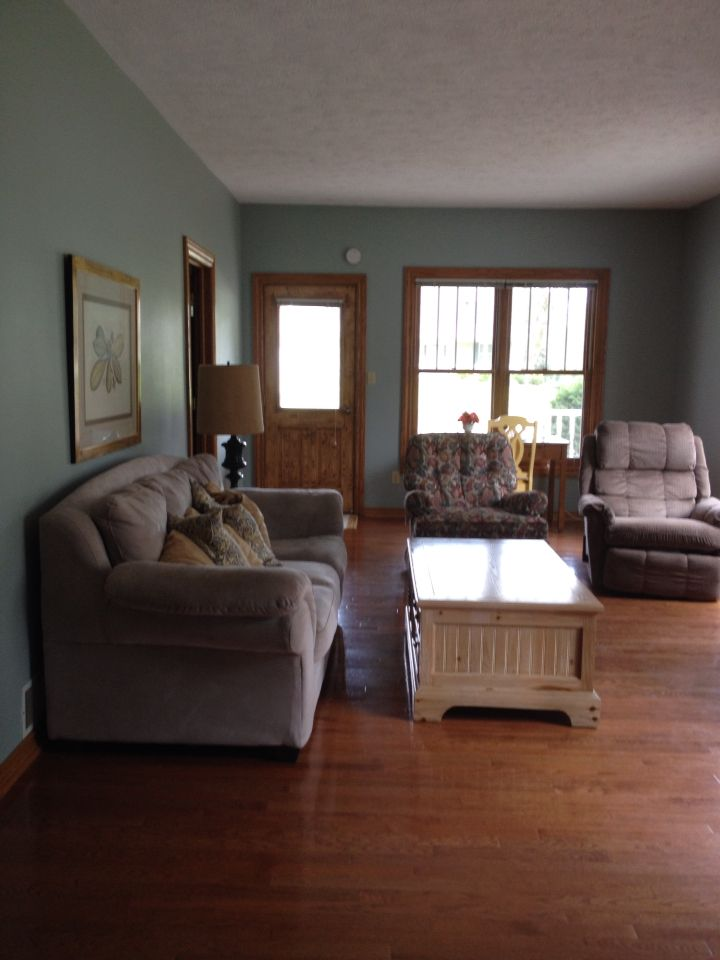 beachy living room wall colors sample paint sherwin williams silvermist with oak trim | home decor ...