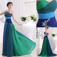 Beaded chiffon prom dress green/blue mix color special ...