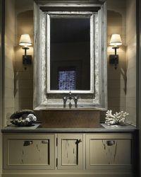 Rustic Bathroom with shiplap walls and custom gray vanity ...