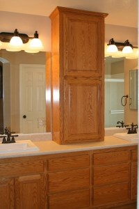 Adding a cabinet on top of a long counter between sinks in ...