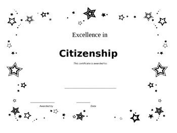 Citizenship Award CertificatePlease download the following