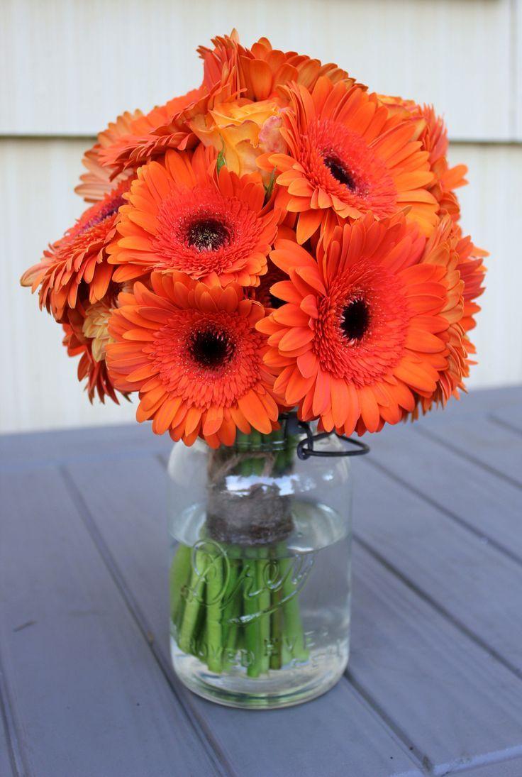 mason jar oranges  bright orange flowers in clear mason jar  mason jars  Pinterest  Orange
