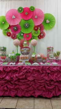 Pink and green Baby Shower Party Ideas | Green baby ...