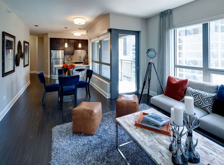 Model kitchen dining and living room at AMLI River North