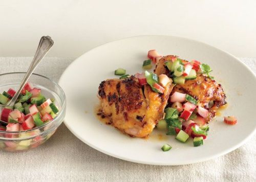 rhubarb salsa and grilled chicken