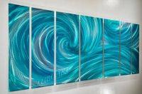 Metal art turquoise painting modern original teal ocean ...