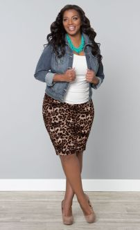 Make a fierce leopard print, like our  Rhapsody Ruched Skirt, perfect for spring with a denim jacket and pops of turquoise.: