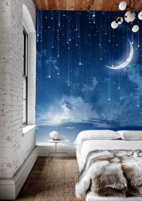 Moon Sky Wallpaper Mysterious Moonlit Wall Mural Starry