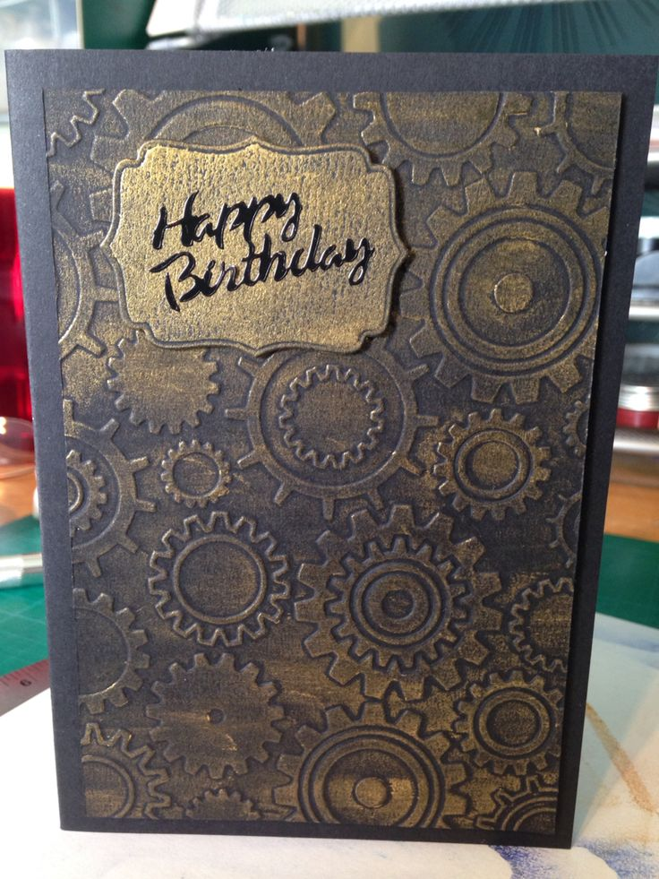 Male card  using embossing folder and gilding wax
