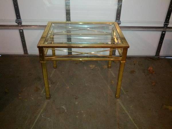 brass  glass side table  craigslist finds  Pinterest