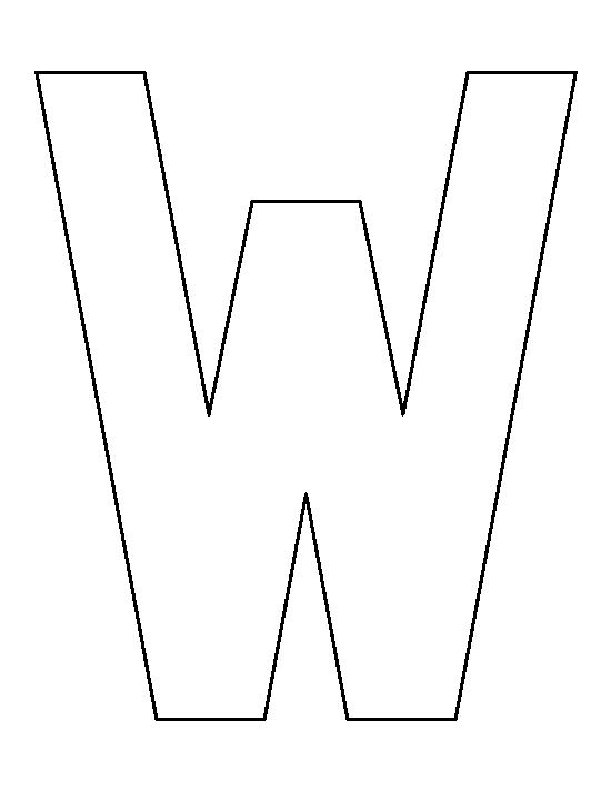 Letter W pattern. Use the printable outline for crafts