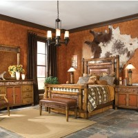 Western bedroom with cowhide wall hanging: Wall Colors ...