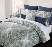 Tahari Home Bedding Cotton Duvet Cover Set with Teal Mint ...