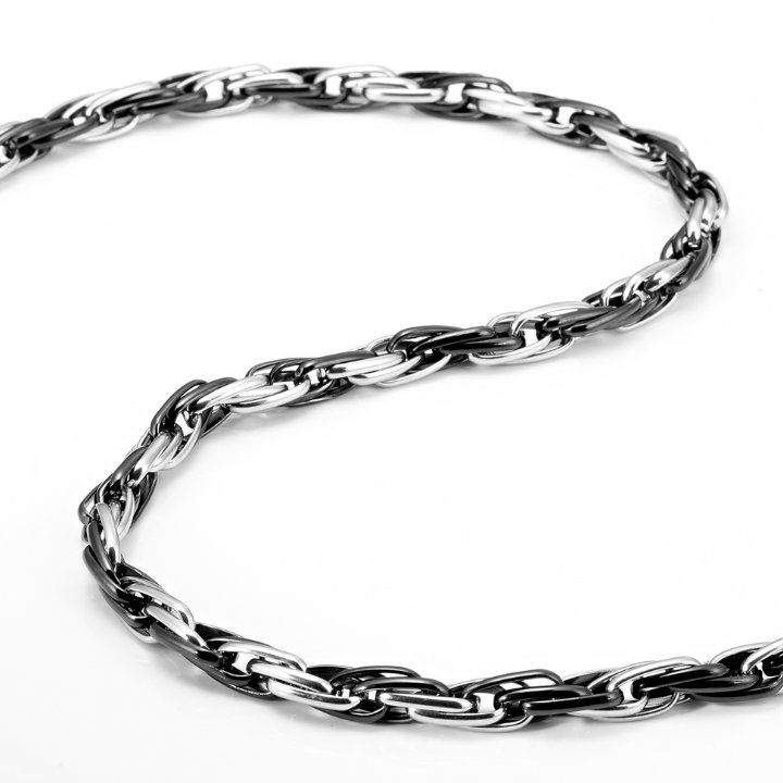 Unique Stainless Steel Mens Necklace Silver Black Chain
