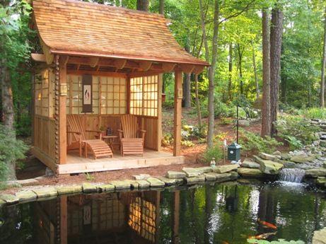 Raleigh Koi Teahouse Japanese Garden Design Cary NC Tiny House