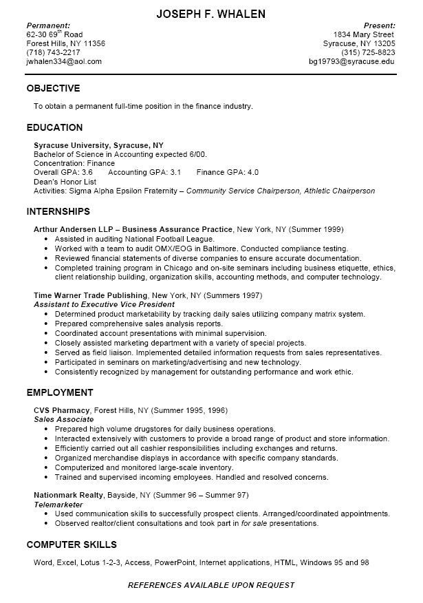 example resume for college freshman